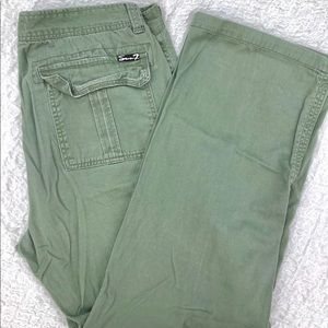 Seven7 Cargo Army Green Distressed Flare Leg Jeans